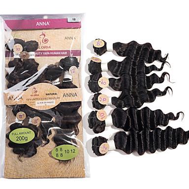 baratos Extensões de Cabelo Natural-Cabelo Brasileiro Onda Profunda 8A Cabelo Humano Ondulado Tramas de cabelo humano Extensões de cabelo humano