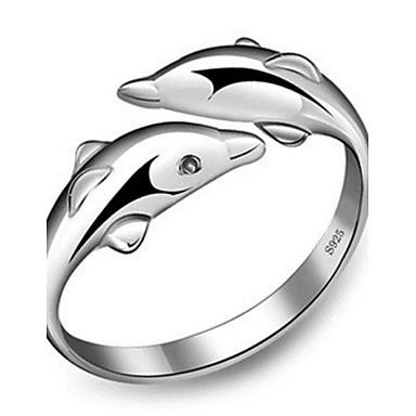 Naisten Band Ring mansetti Ring kääri rengas Sterling-hopea Delfiini Animal Ystävyys naiset Muoti söpö tyyli Muotisormukset Korut Hopea Käyttötarkoitus Häät Party Vuosipäivä Syntymäpäivä Lahja