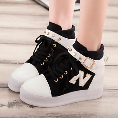 Platform / Kényelmes / Kerek orrú - Talp - Női cipő - Divatos teniszcipők - Szabadidős / Alkalmi - Szövet - Fekete / Kék / Fehér