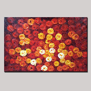Hand-Painted Floral/Botanical Horizontal Panoramic, Modern Canvas Oil Painting Home Decoration One Panel