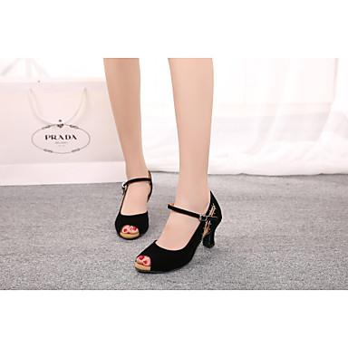 Sapatos de Dança ( Preto / Azul / Roxo / Vermelho / Leopardo ) - Mulheres - Não Personalizável - Ventre / Latim / Samba