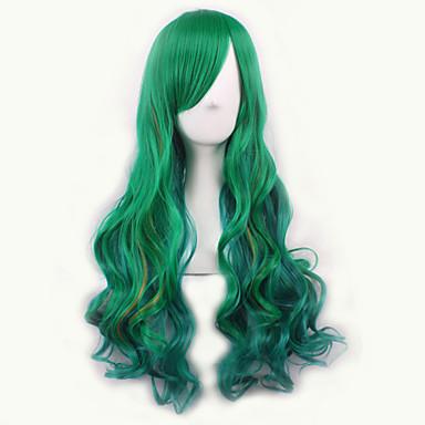 Syntetiske parykker / Kostymeparykker Bølget Syntetisk hår Grønn Parykk Dame Medium Lokkløs