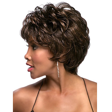 Sentetik Saç peruk Bukle Bonesiz Şort Kahverengi