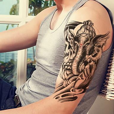 Thai Elephant Fortuna Waterproof Flower Arm Temporary Tattoos Stickers Non Toxic Glitter