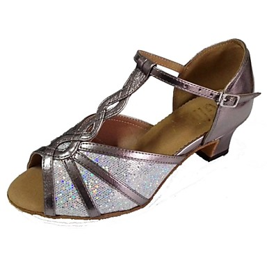 Women's Latin Salsa Sparkling Glitter Leatherette Sandal Indoor Performance Professional Beginner Practice Customized Heel Multi Color