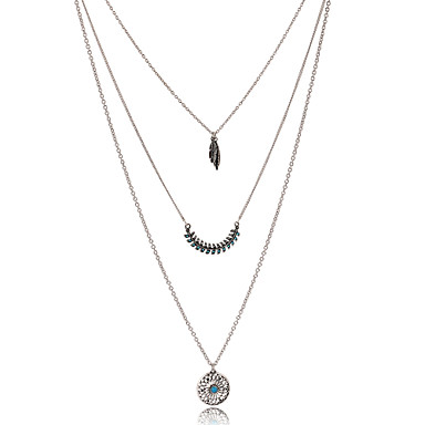 Women's Feather Tassel Bohemian Fashion Folk Style European Chain Necklace Vintage Necklaces Rhinestone Silver Plated Alloy Chain