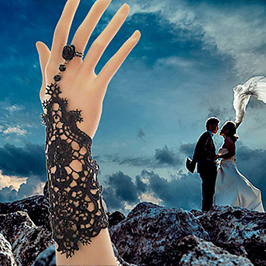 Kadın Gotik Takı Yüzük Bileklikler Dantel Gelin Beyaz Siyah Mücevher 1pc