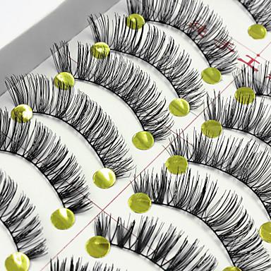 Eyelash 10 Extended Lifted lashes Volumized Natural Party Makeup Daily Makeup Full Strip Lashes Crisscross Natural Long