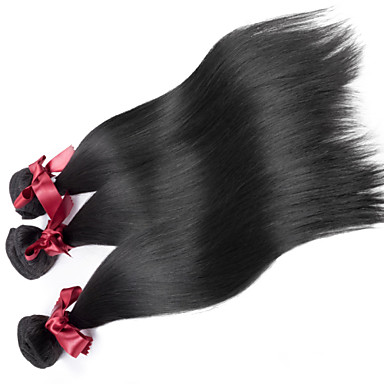 Brazilian Hair Straight / Classic Virgin Human Hair Natural Color Hair Weaves 3 Bundles Human Hair Weaves