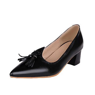 Women's Shoes Synthetic Microfiber PU Patent Leather PU Spring Summer Basic Pump Heels Chunky Heel Pointed Toe Tassel(s) For Wedding