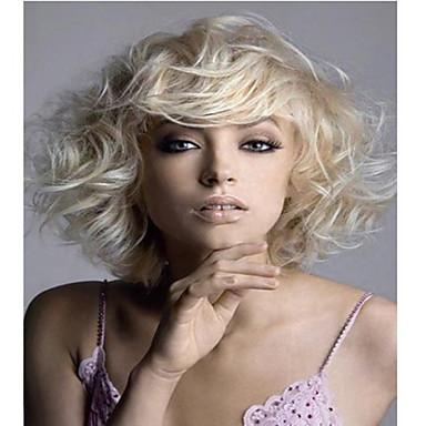 Sentetik Peruklar Dalgalı Sentetik Saç Sarışın Peruk Kadın's Orta Cadılar Bayramı Peruk / Karnaval Peruk Bonesiz