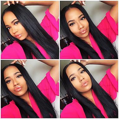 Virgem Cabelo brasileiro yaki italiano perucas retas não transformados perucas de cabelo humano para as mulheres negras 8 '' - 26 ''