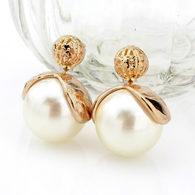 Women's Stud Earrings Double Sided Pearl Alloy Jewelry For Wedding Party Casual