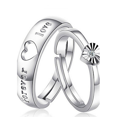Men's Women's Couple Rings Silver Sterling Silver Fashion Wedding Party Daily Costume Jewelry