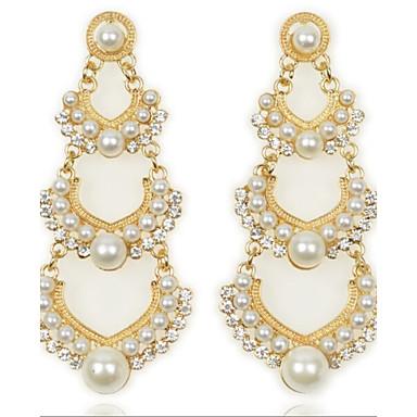 Brincos Compridos Amor Elegant Moda Pérola imitação de diamante Liga Formato de Coração Dourado Jóias Para 2pçs
