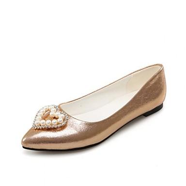 Mulheres Sapatos Pele Napa Primavera Verão Outono Gladiador Conforto Sem Salto Pérolas Sintéticas para Atlético Casual Escritório e