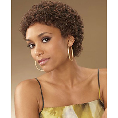 Fashionable Womens Glueless Brown Color Deep Curly Short Hair Wig - Short hair curly african american