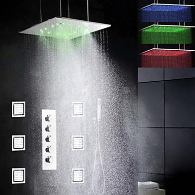 Contemporary Rain Shower Widespread Handshower Included LED with  Ceramic Valve Chrome , Shower Faucet