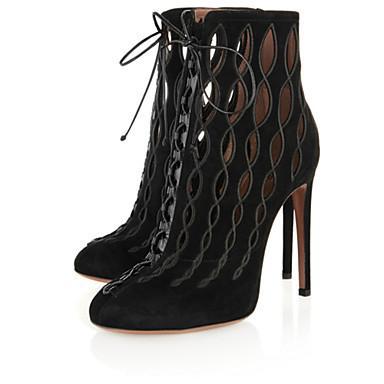 Bootie - Stiletto - Női cipő - Magassarkú - Esküvői / Alkalmi / Party és Estélyi - Gyapjú - Fekete