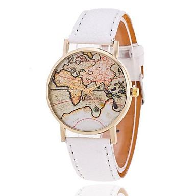 cef72b915ad Mulheres Bracele Relógio Mapa mundial Quartzo Couro PU Acolchoado Preta    Branco   Marrom Analógico senhoras Fashion Padrão Mapa do Mundo - Azul  Claro Verde ...