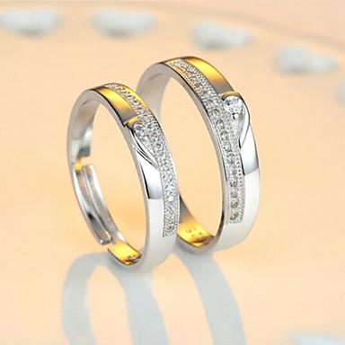 Casal Anéis de Casal - Prata de Lei Ajustável Para Casamento / Festa / Diário / Zircão