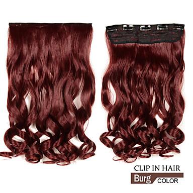voordelige Synthetische extensions-lange clip in synthetische golvend / krullend hair extensions met 5 clips burg