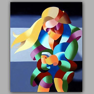 Ručno oslikana Ljudi Vertikalno,Moderna Jedna ploha Platno Hang oslikana uljanim bojama For Početna Dekoracija