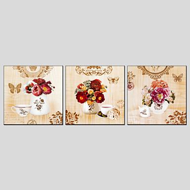 El-Boyalı Natürmort / Çiçek/BotanikModern / Avrupa Tipi Üç Panelli Kanvas Hang-Boyalı Yağlıboya Resim For Ev dekorasyonu
