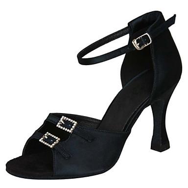 Női Latin Swing-cipők Szamba Salsa Szatén Szandál Magassarkúk Otthoni Teljesítmény Professzionális Kezdő Gyakorlat Strasszkő Csat Tűsarok