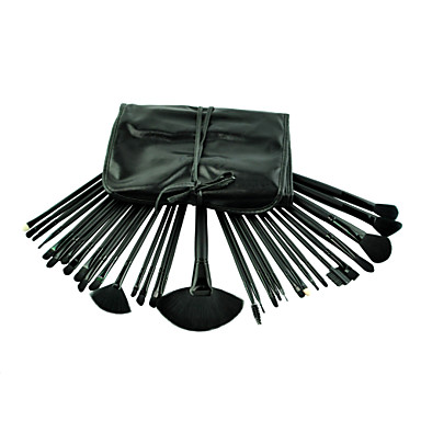 32pcs esthétique du visage maquillage brosse kit laine de poils de chèvre pinceaux de maquillage outils mis noir étui en cuir synthétique