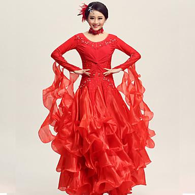 Balo Dansı Elbiseler Kadın's Performans Spandeks Polyester Krep Kumaş Kaplanmış 2 Parça Elbise Neckwear