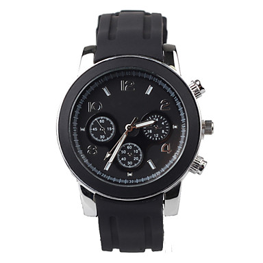 Men's Quartz Wrist Watch Water Resistant / Water Proof Silicone Band Charm Black
