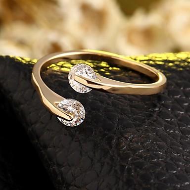 Mulheres Anel de banda Prata Dourado Zircão Ajustável Casamento Festa Diário Casual Jóias de fantasia