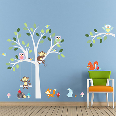 Wall Stickers Wall Decals Style New Monkey Owl Tree Waterproof Removable PVC Wall Stickers