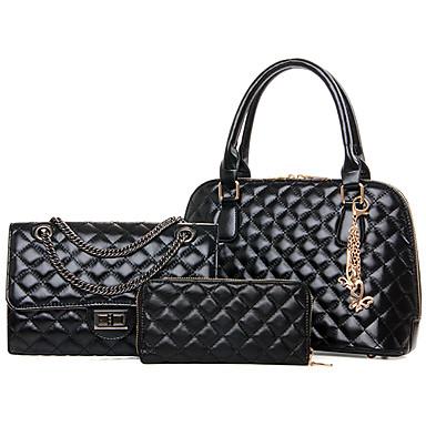 Női Táskák PU Válltáska Kéztáska Patent Pénztárca táska szettek 3 db erszényes készlet mert Bevásárlás Hétköznapi Előírásos Minden évszak