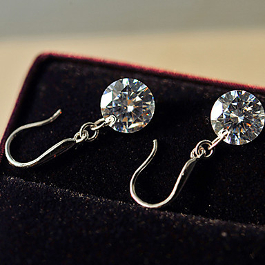 Mulheres Fofo Pérola Imitações de Diamante Brincos Compridos - Trabalho Pedras dos signos Branco Brincos Para Diário