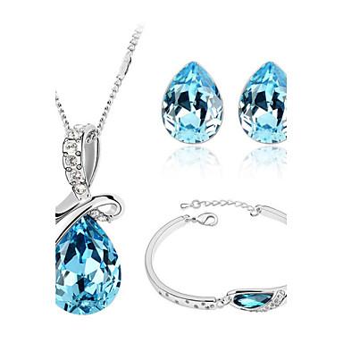 Mulheres Colar de cristal Conjunto de jóias de cristal Brincos com Cristais Pulseira De Cristal Cristal Amor Fashion Casamento Festa