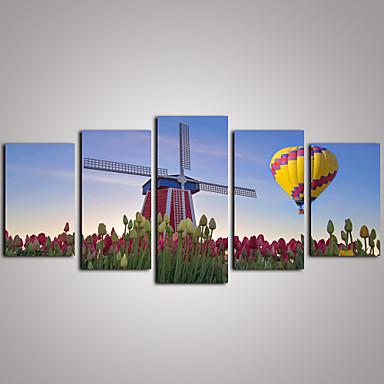 Estampados Fotográfico Conjuntos de Lona Tela de impressão Paisagem Lazer Botânico Fotografia Realismo Viagem 5 Painéis Horizontal