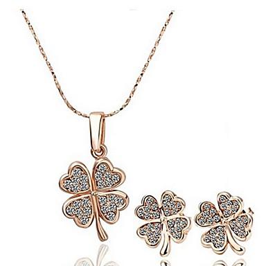 Mulheres Cristal Conjunto de jóias Brincos / Colares - Prata / Dourado / Arco-Íris Para Casamento / Festa / Diário