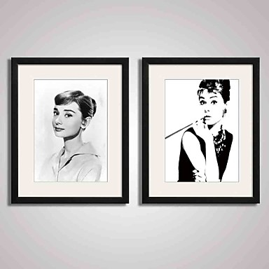 Framed  Black and White Famous Film Star Audrey Hepburn Canvas Print Art for Wall Decoration  40x50cmx2pcs Ready To Hang