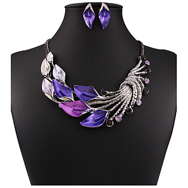 cheap Jewelry & Watches-Women's Jewelry Set Drop Earrings Pearl Necklace Flower Statement Ladies Vintage Party Work Casual Cubic Zirconia Rhinestone Earrings Jewelry Purple / Green / Light Blue For Party Special Occasion