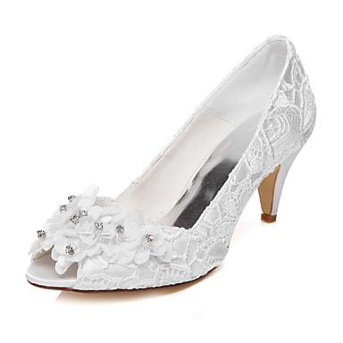 Mulheres Sapatos Glitter Seda Primavera Verão Conforto Salto Baixo Ponta Redonda Apliques para Casamento Festas & Noite Social Ivory