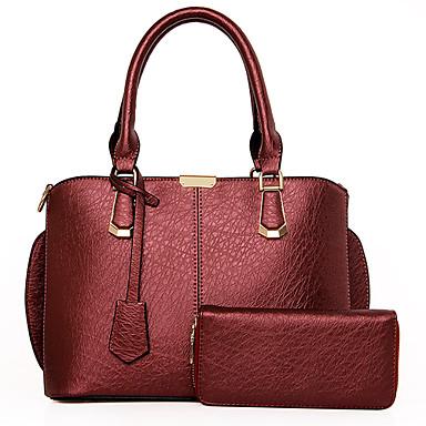 여성 가방 사계절 PU 숄더 백 토트백 등에 매는 가방 2 개 지갑 세트 용 쇼핑 캐쥬얼 정장 블랙 그레이 블루 와인