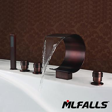 Antik Montirana na postolje Vízesés Kézi zuhanyzót tartalmaz with  Kerámiaszelep Ötlyukas Három fogantyúk öt lyuk for  Antik bronz ,