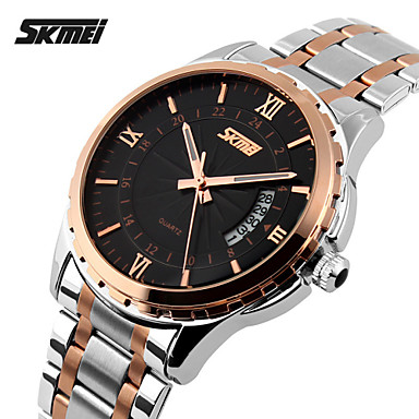 SKMEI Men's Wrist watch Quartz Japanese Quartz Calendar / date / day Water Resistant / Water Proof Stainless Steel Band Charm Silver