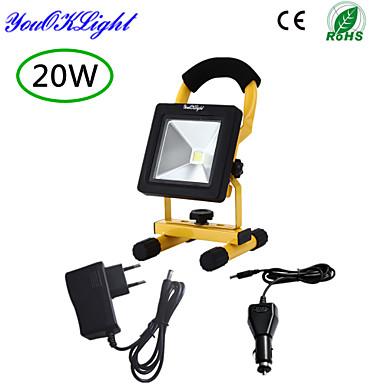 LED projektorok 1 COB 1700 lm Hideg fehér 6000-6500 K Újratölthető Vízálló Dekoratív AC 85-265 DC 12 DC 24 Akkumulátor V