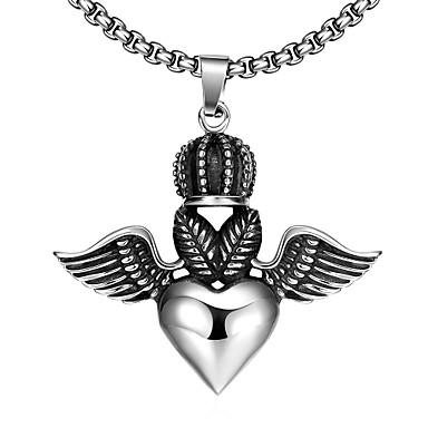 maya forma coração generoso-drop com asas de anjo colar o homem pingente de aço inoxidável (cinza) (1pcs)