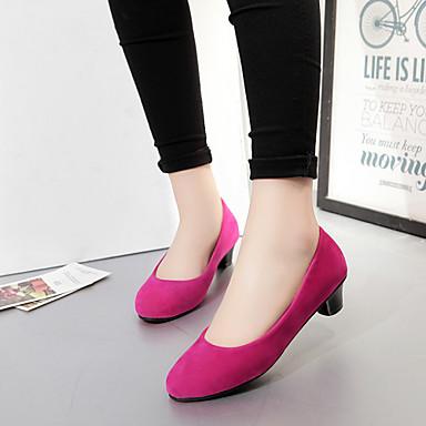 Feminino Sapatos Courino Primavera Verão Outono Salto Robusto para Casual Preto Bege Vermelho Azul