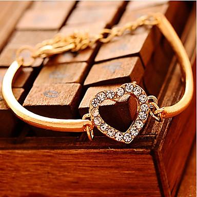 Pulseiras em Correntes e Ligações imitação de diamante Original Moda Formato de Coração Amor Dourado Jóias 1peça