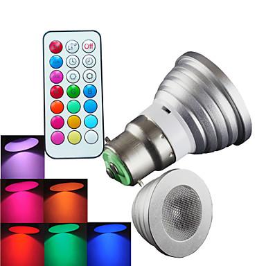 B22 Lâmpadas de Foco de LED MR16 1 leds LED de Alta Potência Regulável Controle Remoto Decorativa RGB 300lm RGBK AC 100-240V